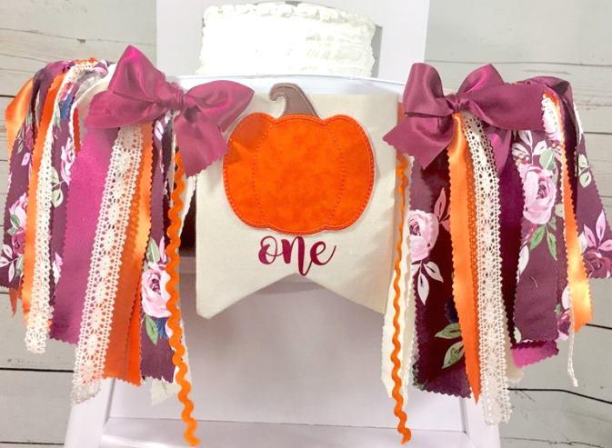 Burgundy & Orange Pumpkin 1st Birthday High Chair Banner