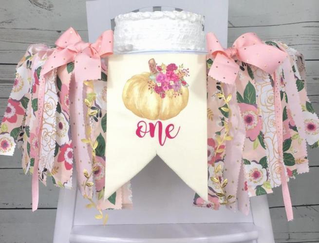 Pink Floral Pumpkin 1st Birthday High Chair Banner