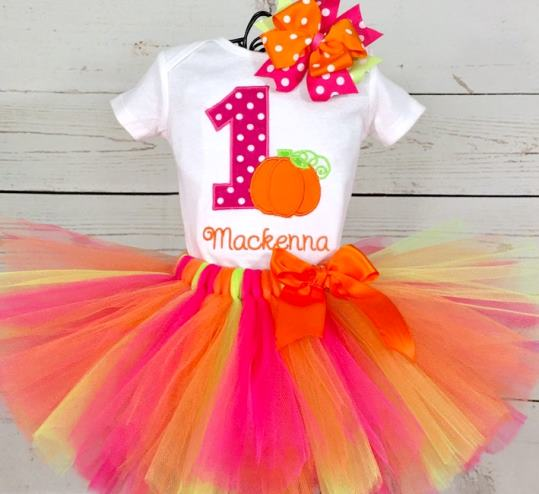 Personalized Hot Pink & Orange Pumpkin 1st Birthday Tutu Outfit