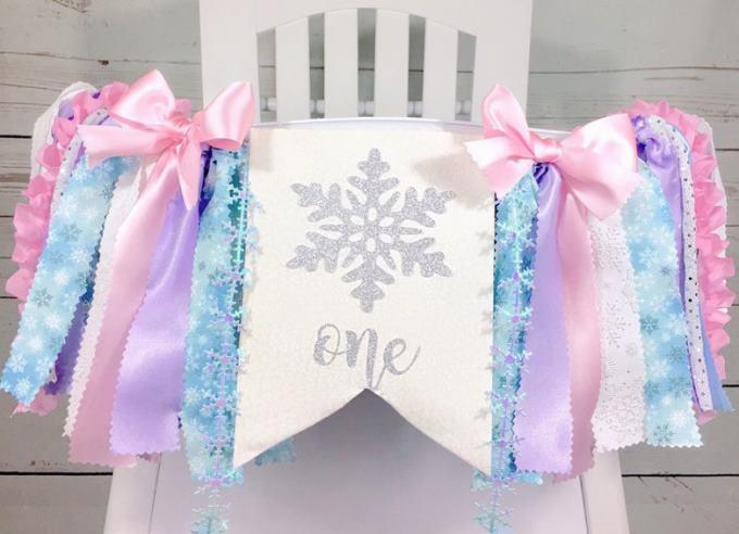 Winter ONEderland Pastel High Chair Tutu Banner