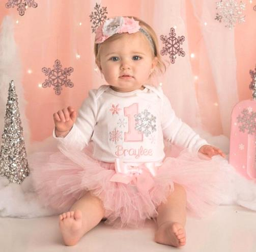 Soft Pink First Birthday Snowflake Tutu Outfit Set