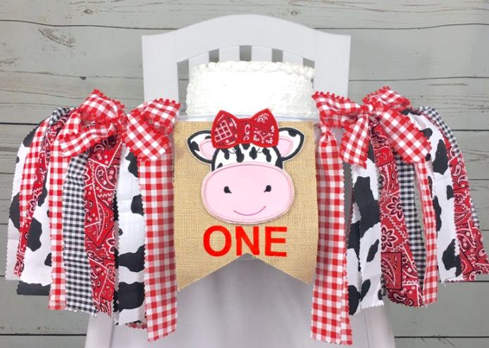 Red Farmhouse Cow 1st Birthday High Chair Banner