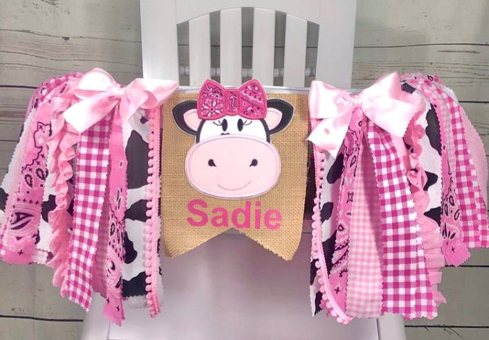 Pink Personalized Farmhouse Cow 1st Birthday High Chair Banner