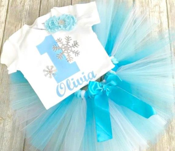 Turquoise Silver Sparkle Snowflake ONEderland Tutu Outfit Set