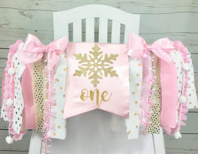 Pink & Gold Winter ONEderland 1st Birthday High Chair Banner