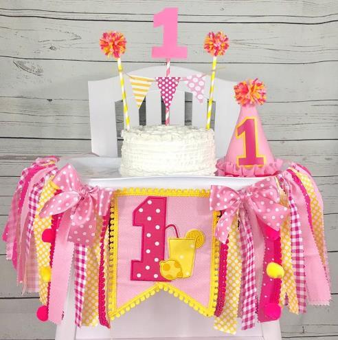 Pink Lemonade 1st Birthday High Chair Banner