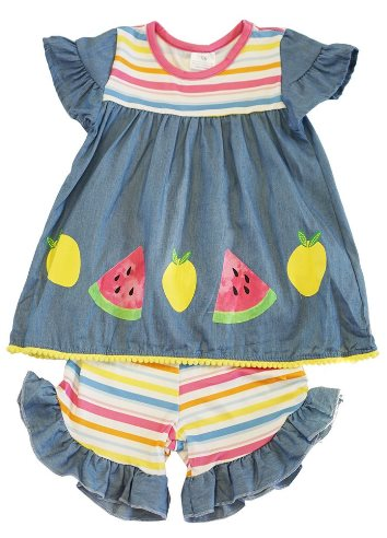 Rainbow Striped Summer Ruffle Shorts Set
