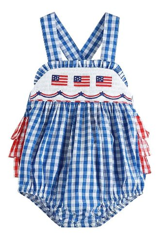 Blue Gingham Flag Smocked Baby Bubble Romper