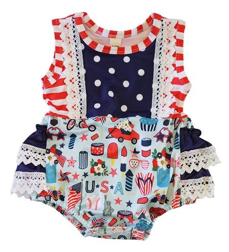 Red White Blue Summer Lace Baby Romper