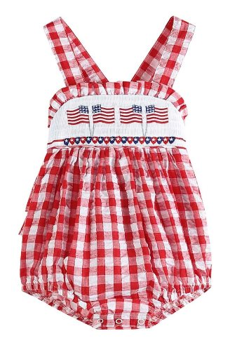 Red Gingham Seersucker Flag Smocked Bubble Romper