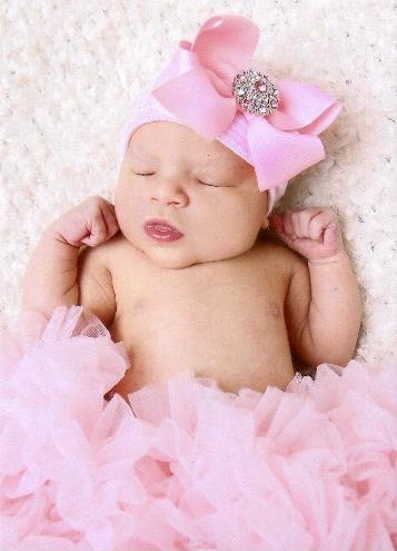Sweet Pink Rhinestone Bow Newborn Boutique Hospital Hat