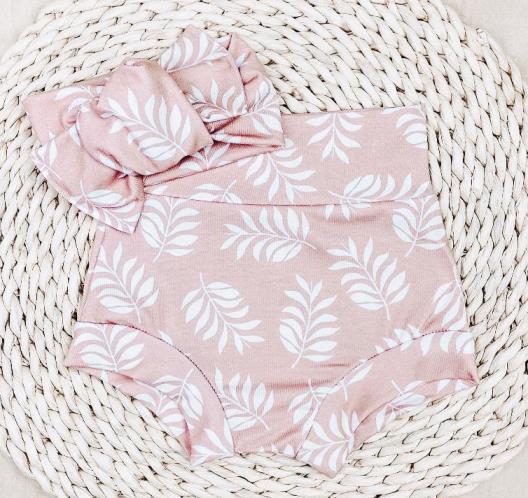 Blush Leaves Bummies & Headband Set