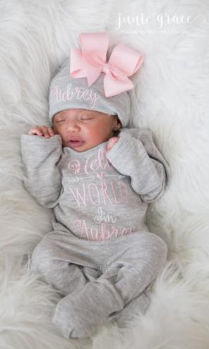 Hello World Gray and Pink Personalized Romper and Hat Outfit Set