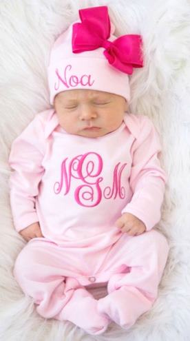 Personalized Pinks Monogrammed Romper and Matching Hat Outfit Set
