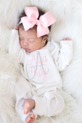 Newborn Baby Girls Personalized Romper and Matching Headband Outfit Set