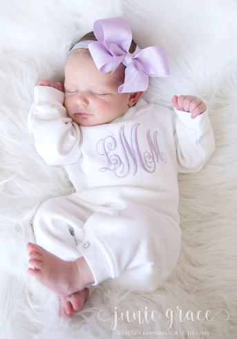 Personalized White and Lavender Romper and Matching Headband Outfit Set