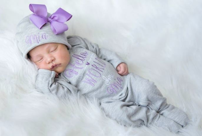 Hello World Gray and Lavender Personalized Romper and Hat Outfit Set