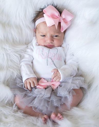 Personalized Pink and Gray 3pc. Onesie Tutu Diaper Cover and Headband Outfit Set