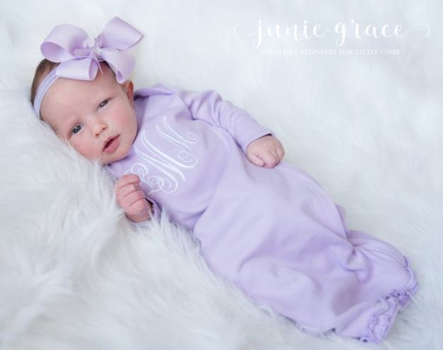 Personalized Lavender Newborn Gown and Matching Headband Outfit Set