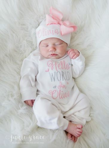 Hello World White and Pink Personalized Romper and Hat Outfit Set