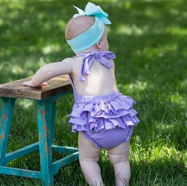Monogrammed Lavender Ruffle Romper Outfit with Matching Headband
