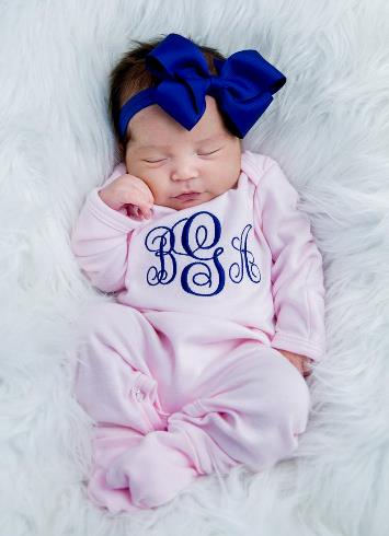 Pink & Navy Monogrammed Romper & Matching Headband Outfit Set