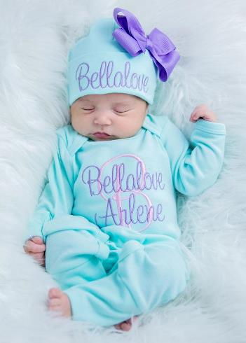Aqua & Lavender Personalized Newborn Romper and Matching Hat Outfit Set