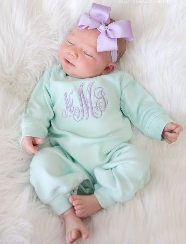Mint and Lavender Monogrammed Romper Layette Outfit and Headband Bow Set