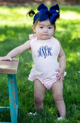 Monogrammed Pink Ruffle Romper Outfit with Matching Headband