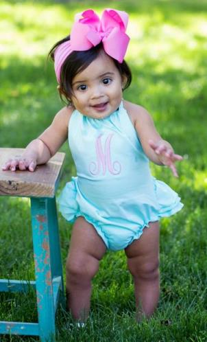 Monogrammed Aqua Ruffle Romper Outfit with Matching Headband