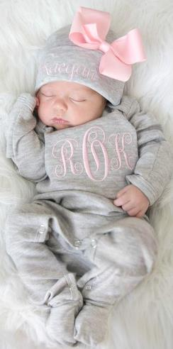 Gray and Pink Personalized Monogrammed Newborn Romper and Matching Hat with Bow