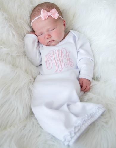 Newborn Monogram Gown with Matching Headband