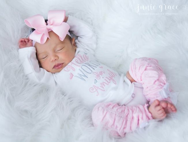 Hello World Personalized Pink and White 4pc. Onesie Leg Warmers and Headband Outfit Set