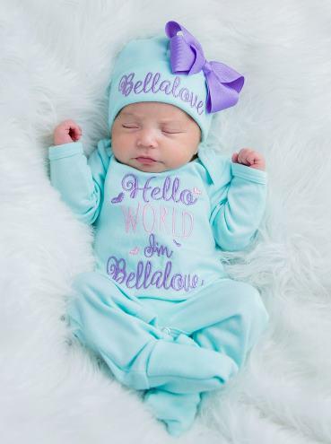 Hello World Aqua & Lavender Newborn Romper and Matching Hat