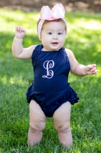 Monogrammed Navy Ruffle Romper Outfit with Matching Headband