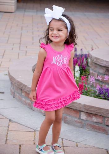Monogrammed Hot Pink Ruffle Dress