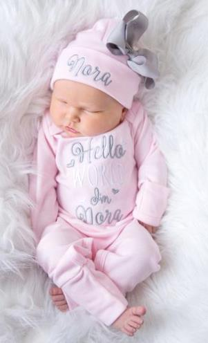 Light Pink and Gray Hello World Newborn Romper and Matching Hat Going Home Outfit Set