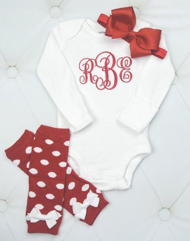 Red & White Personalized Baby Outfit with Polka Dot Leg Warmers & Matching Headband