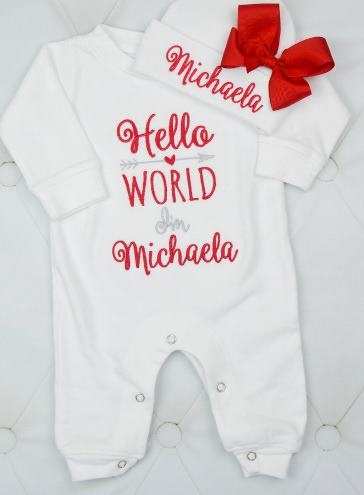 Hello World Red & White Personalized Newborn Romper with Matching Hat