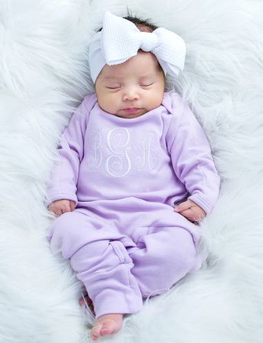 Lavender & White Monogrammed Romper and Matching Headband