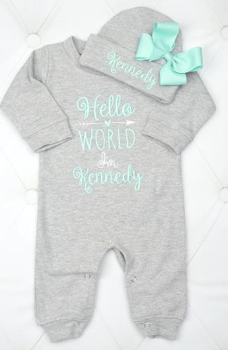 Hello World Gray & Aqua Personalized Romper with Matching Hat