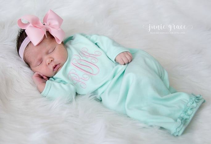 Newborn Monogram Mint and Pink Gown and Matching Headband Outfit Set