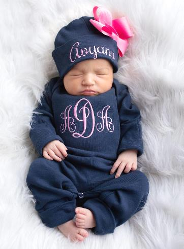 Navy & Hot Pink Personalized Romper with Matching Hat
