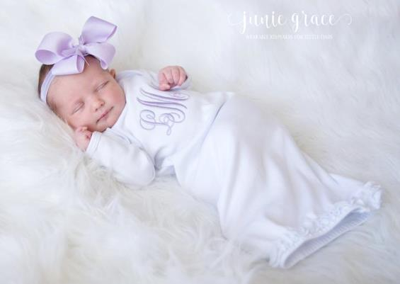 White & Lavender Monogrammed Ruffle Gown with Matching Headband
