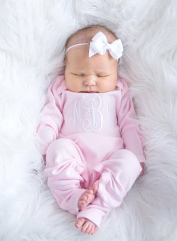 Newborn Baby Pink Personalized Monogrammed Romper & Matching Headband Outfit Set