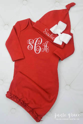 Personalized Red Newborn Gown with Matching Hat