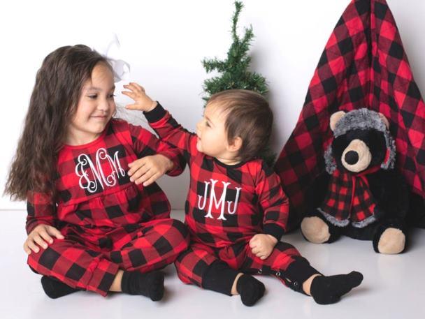 Personalized Buffalo Plaid Christmas Outfit