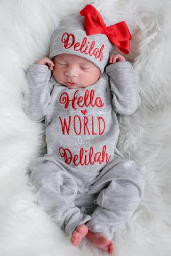 Hello World Gray & Red Personalized Newborn Romper with Matching Hat