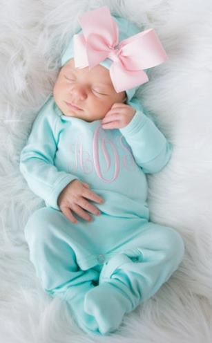 Newborn Aqua & Pink Personalized Monogrammed Romper and Matching Hat Outfit Set