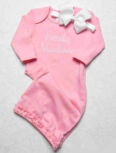 Pink & White Personalized Coming Home Gown with Matching Headband